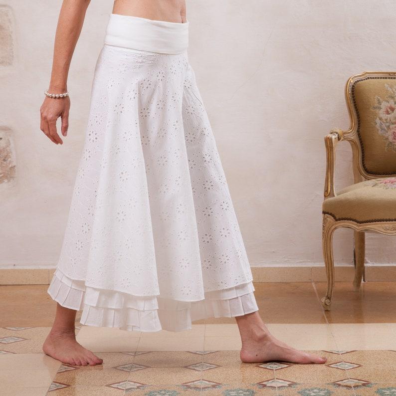 7a59c0a9c Women White Skirt Cotton Skirt Lace Skirt Boho Skirt Long   Etsy