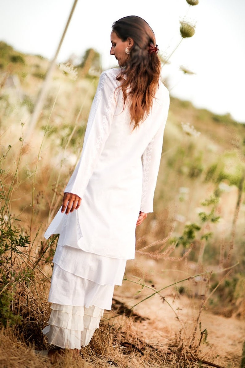 White Tunic Boho Tunic Bohemian Clothing Plus Size Long Sleeve Tunic Tunic for Women Tunic Dress Summer Tunic Cotton Tunic Tunic Top