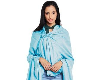Tiffany Blue Cashmere Shawl - Hand woven