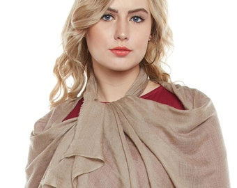 Taupe Cashmere Scarf - Hand Woven