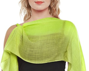 Lime Green Cashmere Scarf - Hand Woven
