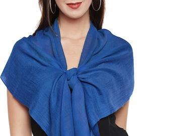 Cobalt Blue Cashmere Scarf - Hand Woven