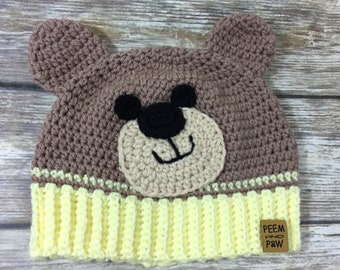 Teddy Bear Crochet Beanie