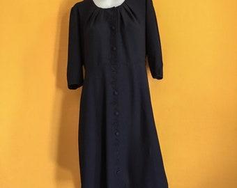 40s/50s vintage black button down dress