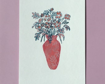 Original Floral Gouache Painting, featuring a Coral Vase of Blue flowers