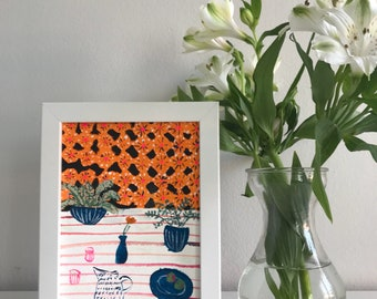 Original gouache artwork , painting featuring plants and ceramics against a patterned background , by Sonia Brittain