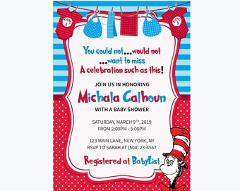 Dr Seuss Invitation - Baby Shower Invite - Cat in the Hat Invitation - Dr Seuss Party - Printable Invitation - Dr Seuss Baby Shower - Seuss