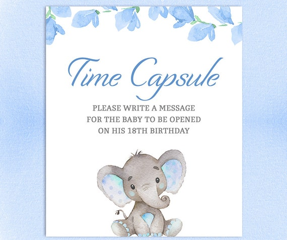 Time Capsule Sign Elephant Boy Time Capsule Printable Instant Download Baby Shower Activity PDF Baby Time Capsule