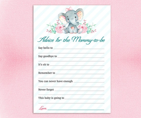 Instant ADVICE for the Mommy to Be Printable Baby Shower Advice Card Baby Girl Shower Activity Instant Download