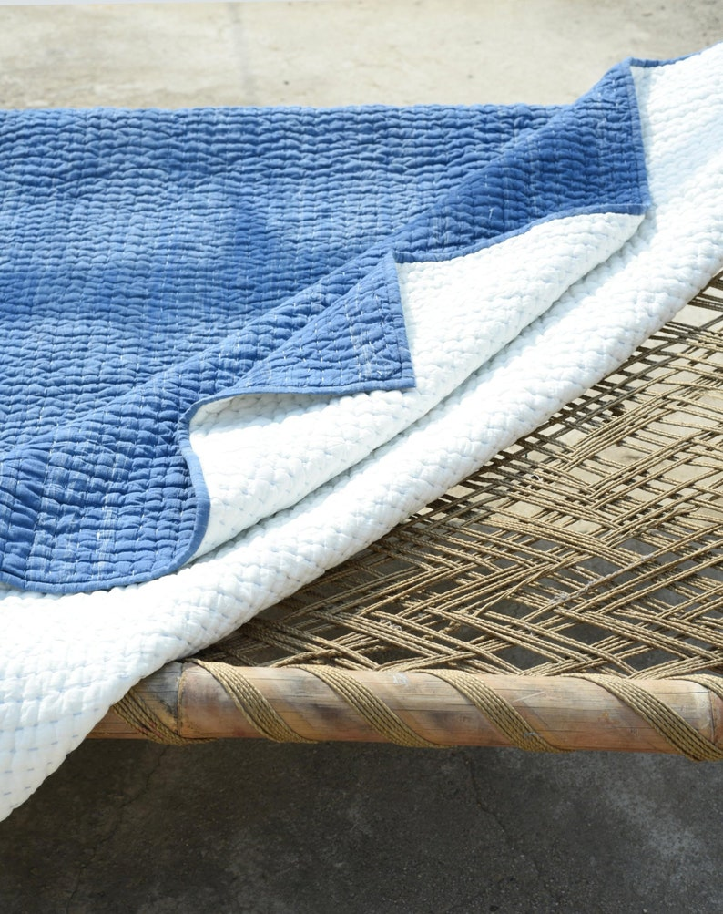Blue /& White Kantha Quilt Cotton Kantha Quilt Reversible Cotton Rajai Indian Handmade Razai Bed Cover Throw Solid Bedding