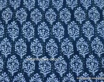 Artisan Hand-Stitched Handmade Blue Kantha Quilt Queen Size Quilt Indian Handmade Bohemian Bedspread Cotton Floral Kantha Throw