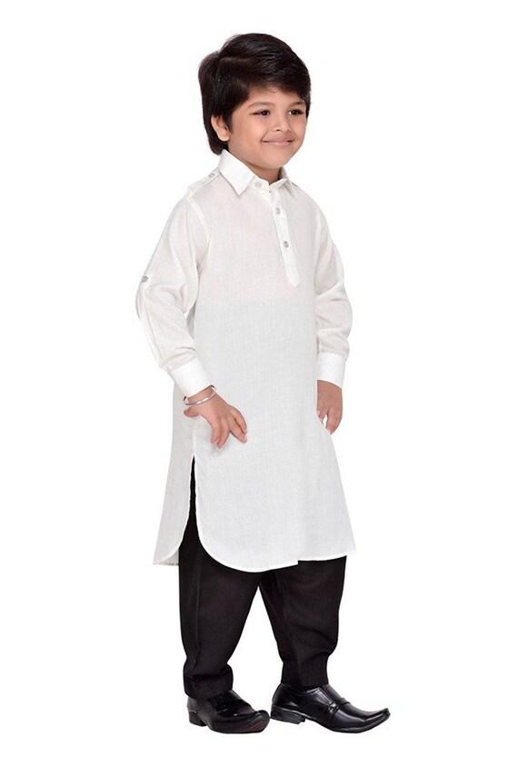 Boys Kurta Pajama Cotton Kurta Pajama Pathani Kurta Pajama Men S Kurta Pajama Indian Traditional Wedding Dress Festival Dress White Kurta