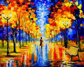 Abstract Oil Painting, Canvas Painting, Canvas Art, Abstract Art, Large Art, Landscape Oil Painting, Large Oil Painting, Bright autumn