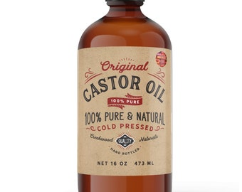 Natural Castor Oil 100% Pure Cold Pressed Hexane Free. Holistic, Eyelash, Eyebrow, Dry Skin, Hand, Topical, Scalp, Hair Growth