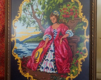 Stitched Mural of Woman in Garden
