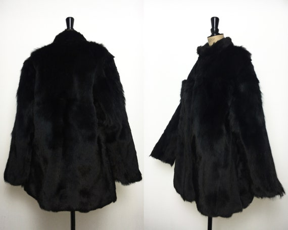Vintage / 1980s 80s / Fur Coat / Black Fur / Long