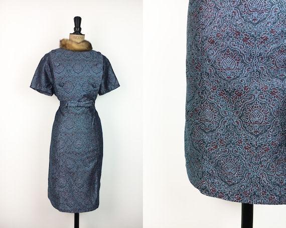 Vintage 1960/'s Paisley Grunge Dress Size 16 18 XL Plus Size 60/'s Mod Dress 1960/'s Electric Blue Paisley Hipster Dress by Mary Roberts
