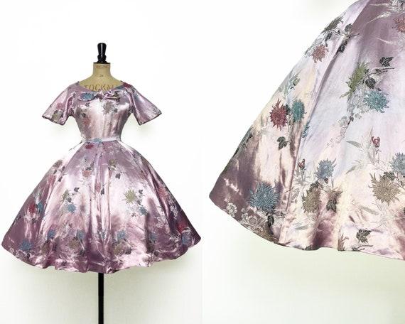 Vintage / 1950s 50s / Pink Silk Dress / Circle Ski