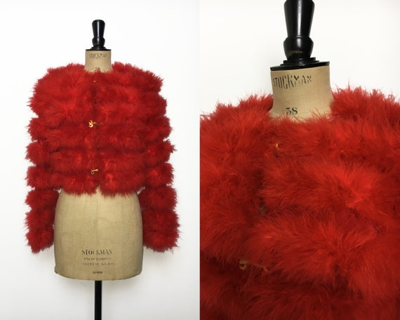 Vintage / 1970s 70s / Marabou Feather Cropped Jack