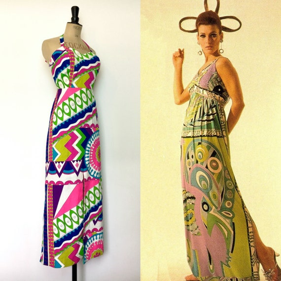 Vintage / 60s 1960s / Maxi Dress / Pucci Style / P