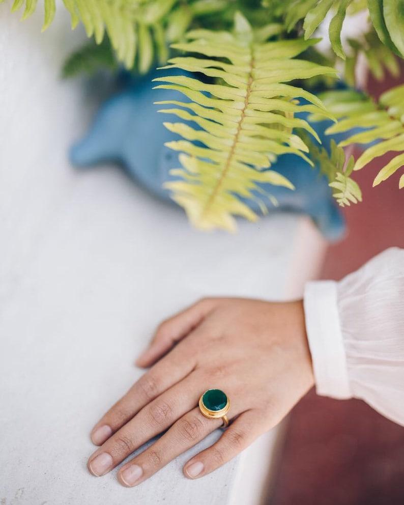 adjustable statement ring Emerald green quartz stone elegant ring