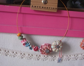Necklace wire wired Spring Fest yoyo flower with pearls
