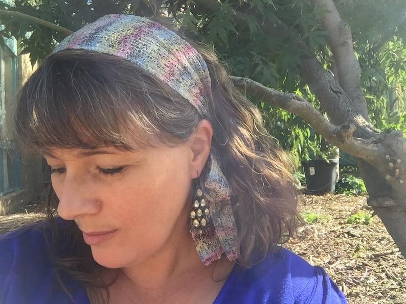 Silver /& metallic multi-coloured tied headband