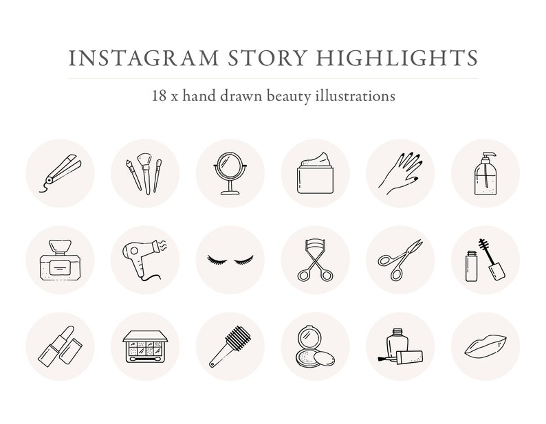 Instagram Beauty Story Highlights, Icons, Instagram Cosmetic Highlights,  Black and White Instagram Icons, Instagram Templates