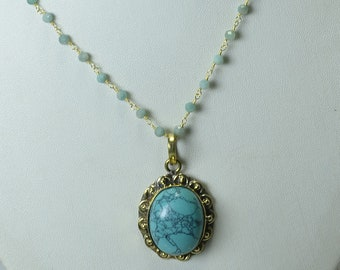 blue amethyst turquoise pendant Necklace