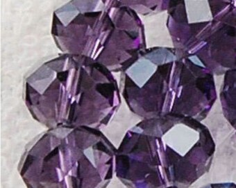 30 - 4mm x 6mm dark purple faceted cut rondelle glass beads