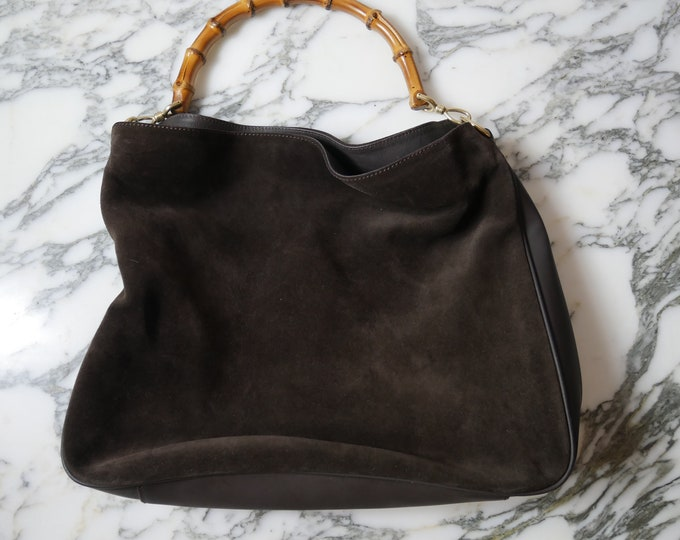 Brown Suede Gucci Bamboo Bag