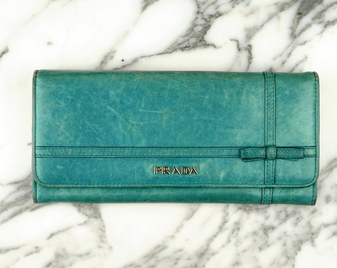 Prada Blue Wallet with Bow