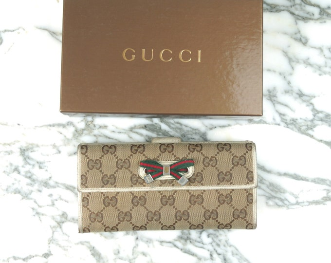Vintage Gucci Monogram Wallet with Bow