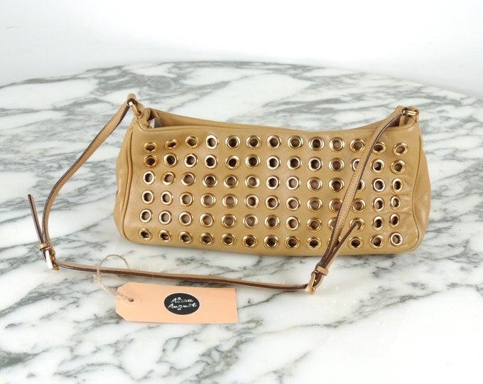 Prada Beige Handbag with Gold Eyelets