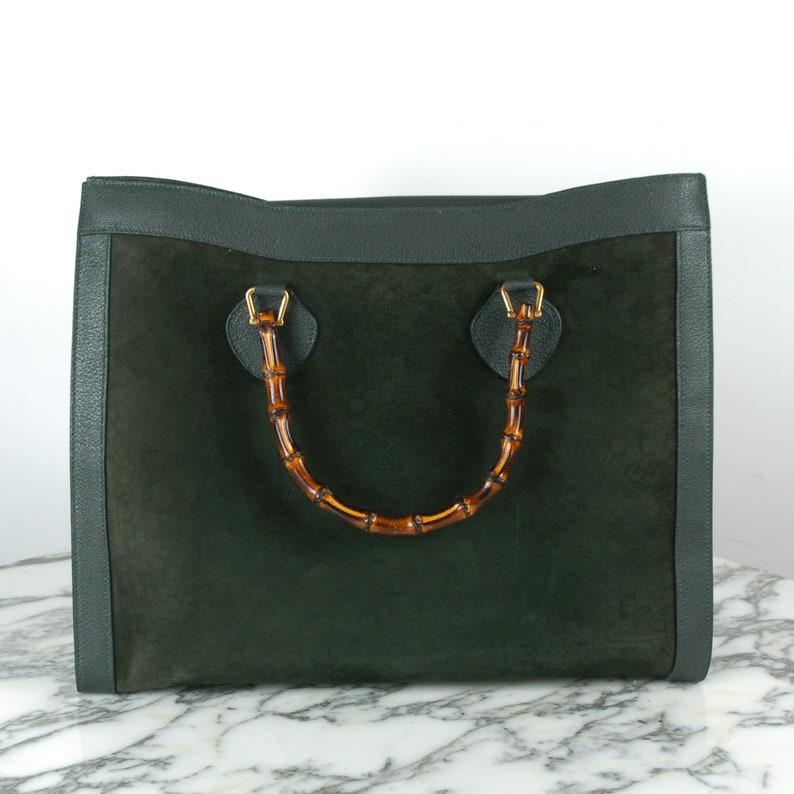 e08779e143da Vintage Gucci Suede Bamboo Handbag | Etsy