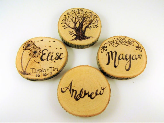Personalised Wedding Favours Table Decorations Scatter Buttons Wooden Birch Keep