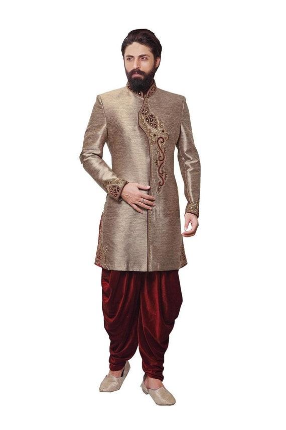Indian Antique Gold Royal Traditional Ethnic Designer Wedding  Partywear Mens Sherwani.