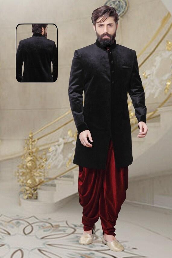 Indian Sherwani For Men In Velvet For Wedding Ceremony Etsy