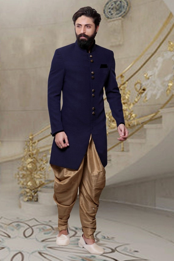 Indian Dress Ethnic Blue Color Indo Western for Men Wedding Partywear Reception Festival Functions Exclusive Designer Traditional Suit Dress