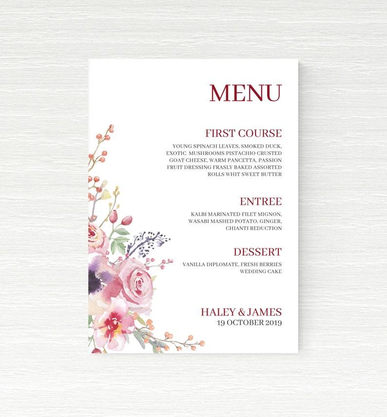 Printable Burgundy Boho Menu DIY LARA-005 Wedding Menu Printable Personalized  Boho Floral Wedding Menu Download Burgundy Wedding Menu