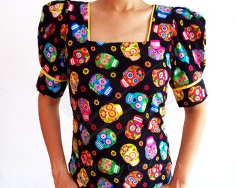 Square Neck Blouse Puffed Short with Cuffs Sleeve Dia de Muertos Day of the Dead Coco Tailored Hand Created Custom