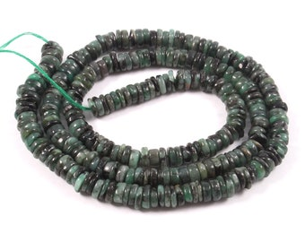 Quality Emerald Smooth Heishi Strand Natural Emerald Smooth Heishi Green Emerald Necklace 4.5 MM SKU#BCI790 Tyre Beads 64 Cts