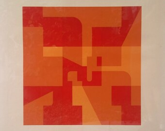 """Norman Ives """"Composition"""" 1970 Numbered and Signed Original Serigraph #51 of 75"""