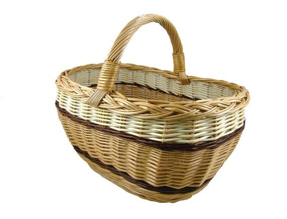 a67077a9e519d2 Kosz wiklinowy zakupowy piknikowyrowerowy Koszyk wiklinowy | Etsy