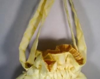 Drawstring bag, Drawstring purse, Yellow Drawstring Bag, Yellow Drawstring Purse, Quilted Drawstring Bag, Quilted Drawstrring purse, bag
