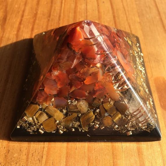 Kundalini Orgonite® Pyramid with Shungite, Singing Quartz Crystal, Tiger's  Eye, Carnelian - Orgone Generator®