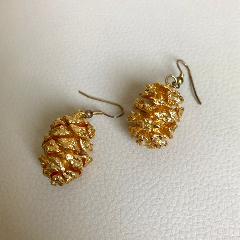 Vintage gold colour earrings pine cone earrings   Costume jewelry for women