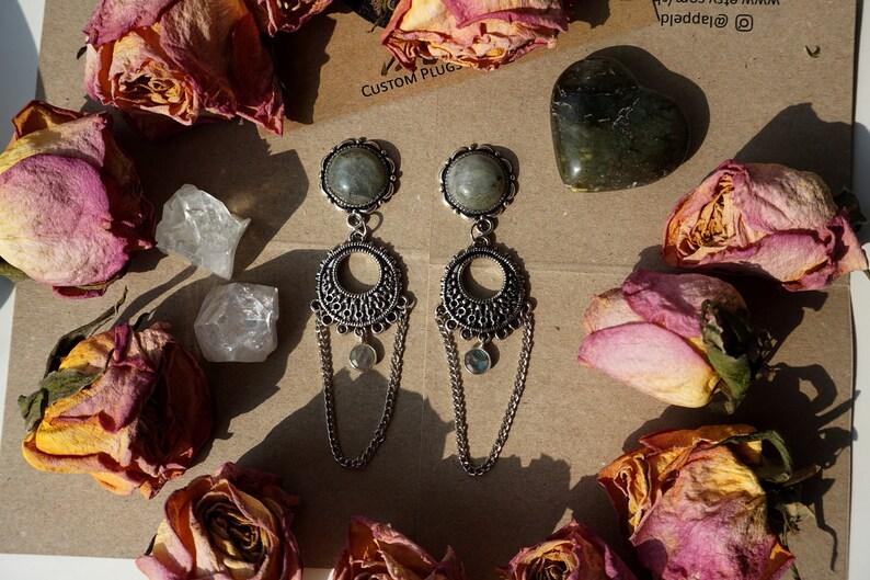 Silver Labradorite Drop Custom Ear Plugs ; 8mm 10mm 12mm 14mm  Earrings
