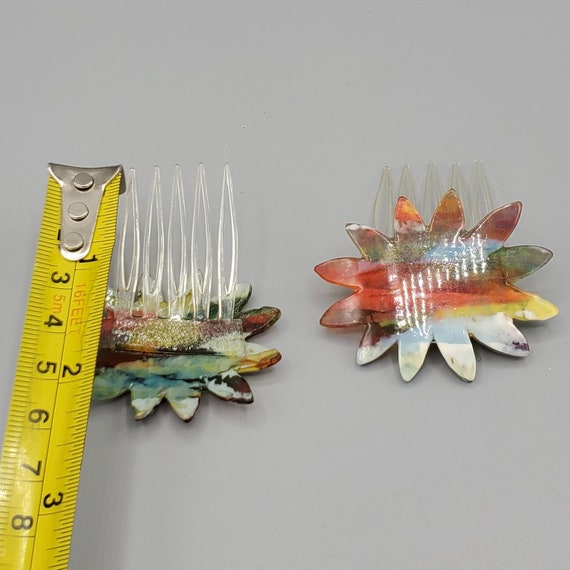 Two 1970s French Earth Tone Color Abstract Floral Lucite Brown Hair Slide Combs