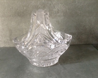 French vintage lead crystal cut glass miniature basket